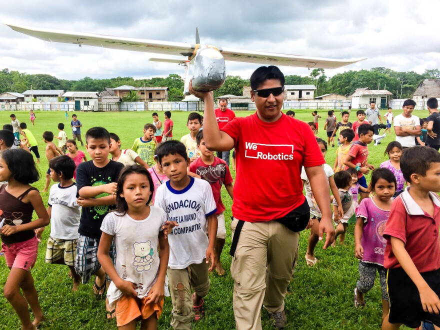 A nonprofit group is testing this drone to see how fast it could get medications from a town to a remote village in Peru that's six hours away by boat.