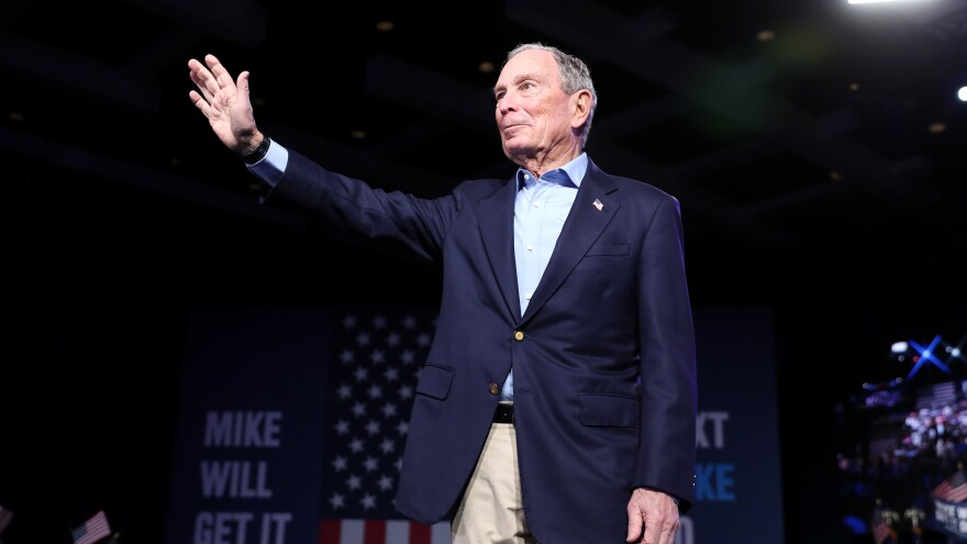 Mike Bloomberg waves to his supporters at his Super Tuesday night event on March 3, 2020.