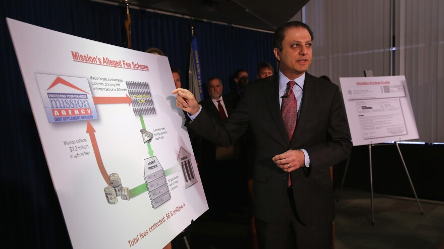 U.S. Attorney for the Southern District of New York Preet Bharara addresses the media on Tuesday during a news conference on the  indictment of Mission Settlement Agency.