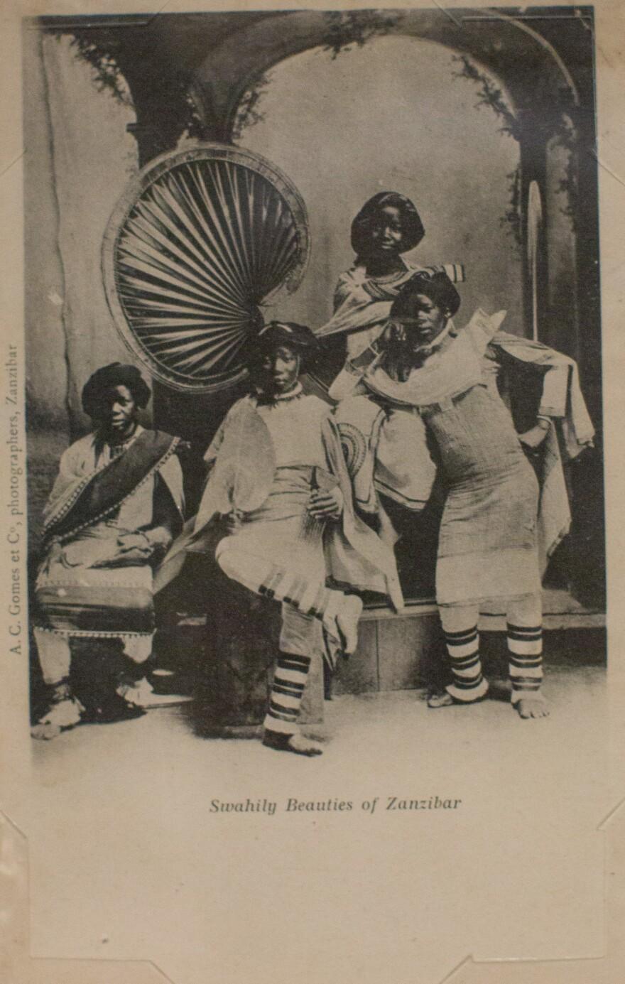 <em>Swahily Beauties of Zanzibar</em> by A.C. Gomes & Co. Photograph taken before 1900; postcard printed circa 1903-1904.
