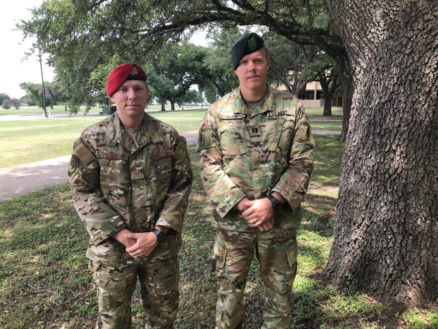 """Tech. Sgt. Michael Perolio and Capt. William """"Lance"""" Clark"""