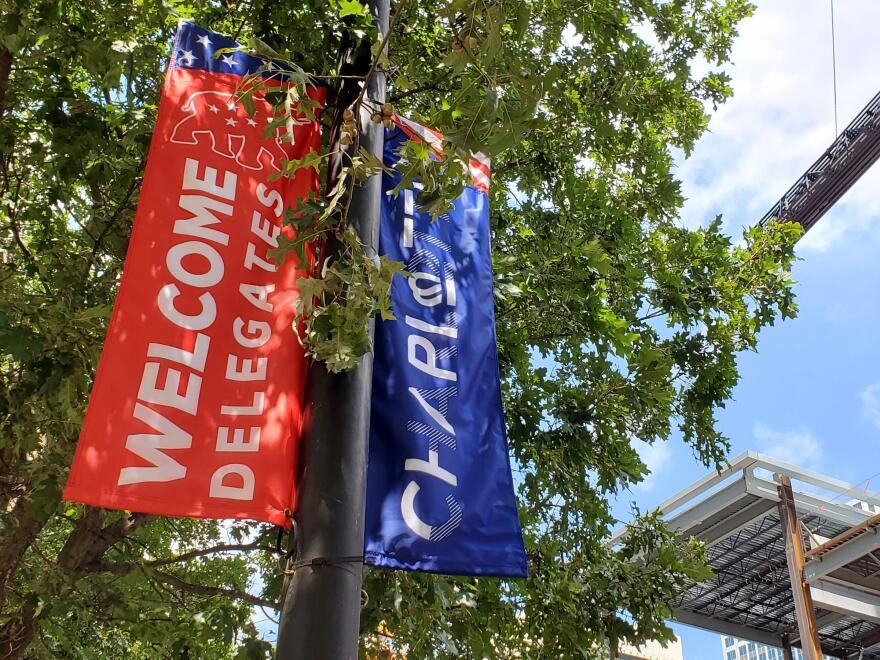 A photo of RNC banners