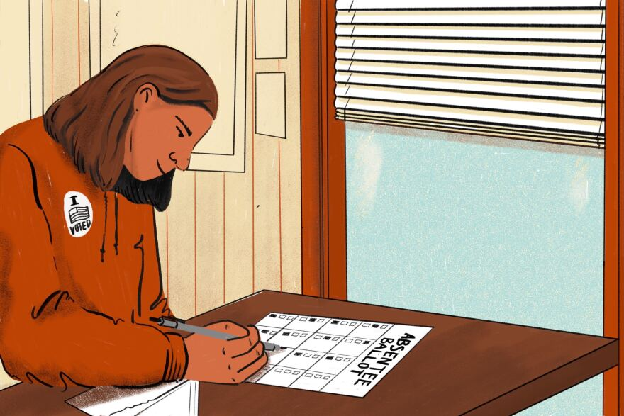 An illustration showing a person sitting at a table filling out an absentee ballot.