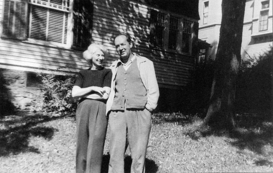 Vladimir and Vera Nabokov outside their rented home in Ithaca, N.Y., in 1951. There, Nabokov completed his autobiography and began <em>Lolita.</em>