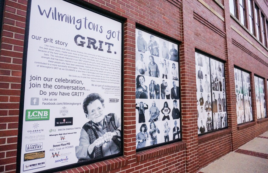 As the project grew, the City Building's windows were cover by photos from the project.