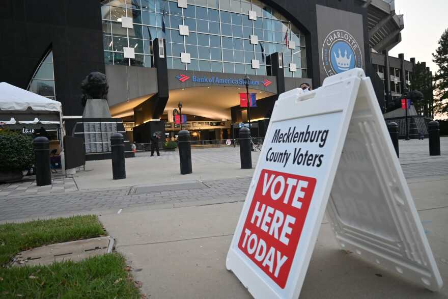 voting sign bank of america stadium