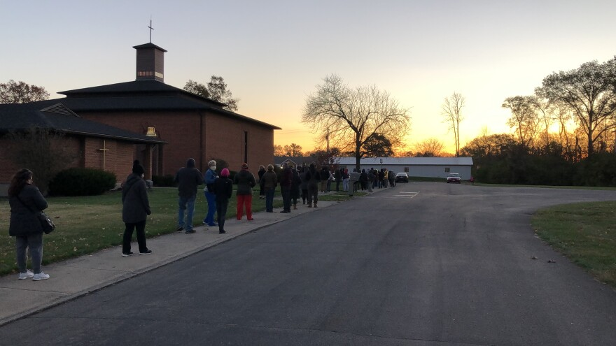 Early morning voters line up at this precinct in Canal Winchester.