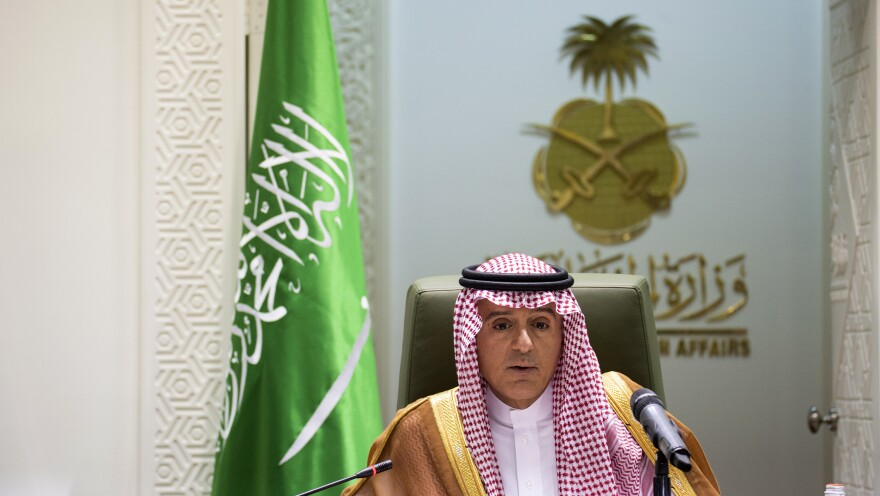 Saudi Foreign Minister Adel Al-Jubeir addresses a news conference Wednesday in the capital, Riyadh.
