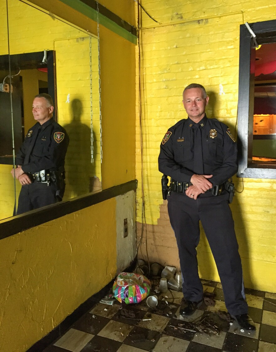 Roanoke Police Capt. Rick Morrison at the former city nightclub, Ms. Choc's Lounge, which will be turned into a new Community Solutions Center.