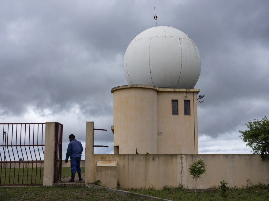 Caretaker Salamao Mausse enters the now-defunct radar installation in Xai-Xai, Mozambique.