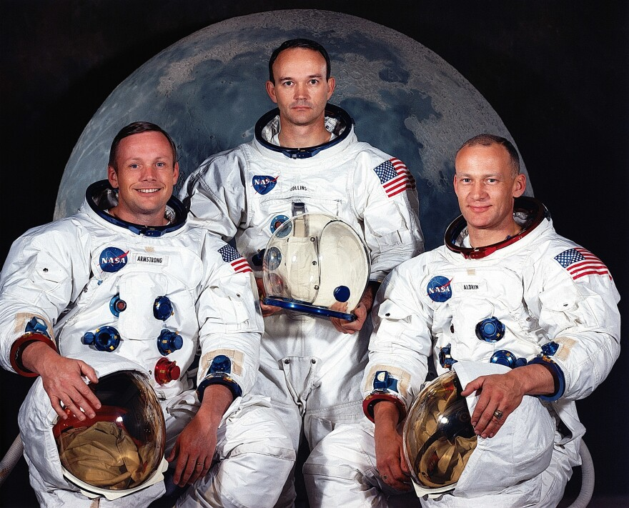 Mike Collins (center) was the command module pilot on the Apollo 11 mission which set Neil Armstrong (left) and Buzz Aldrin (right) on the moon.