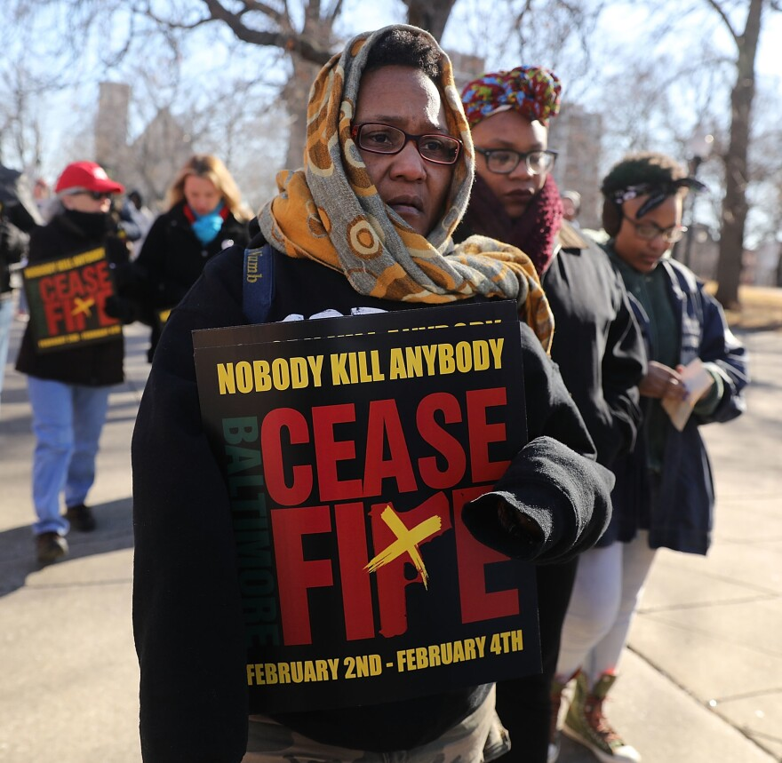 "Erricka Bridgeford, who recently lost her son to a murder, joins other activists during Baltimore's third ""Ceasefire Weekend"" on February 3, 2018."