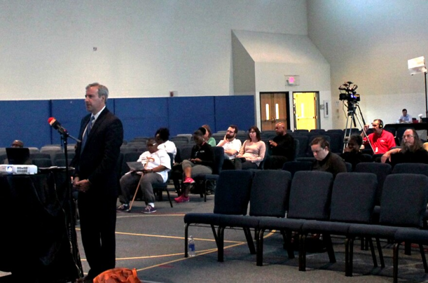 Budget director Paul Payne gives a presentation at a public hearing on the city's 2017 spending plan on May 18, 2016.