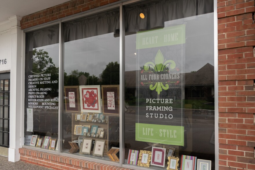 All Four Corners Picture Framing Studio in Ladue is among the businesses that plans to reopen this month. May 15, 2020.