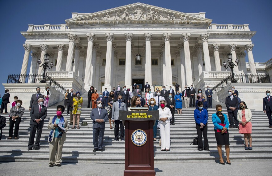 House Speaker Nancy Pelosi of California, joined by House Democrats spaced for social distancing, spoke at a press conference on the House East Front Steps of the Capitol ahead of the House vote on the George Floyd Justice in Policing Act of 2020.