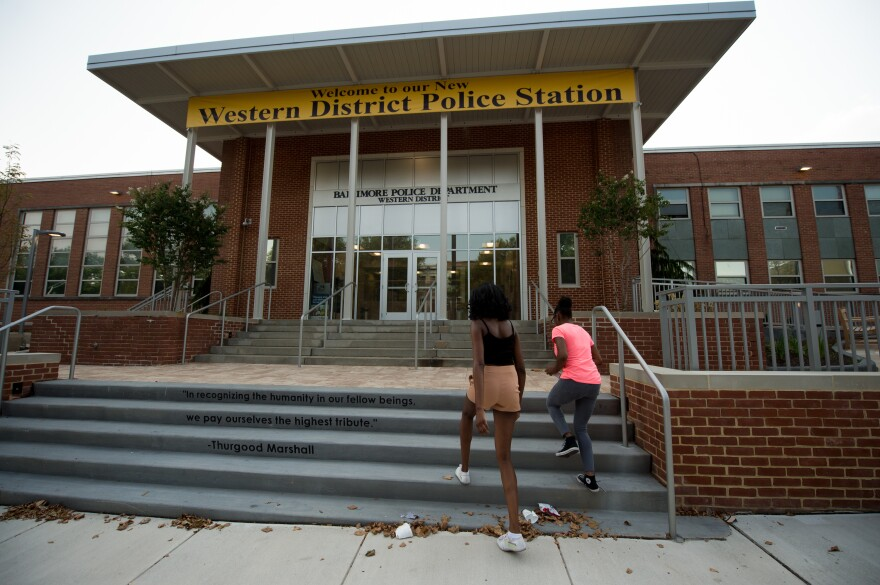 The Western District police station in Baltimore, Md., seen in July, was the backdrop to violent clashes between police and rioters in 2015, following the death of Freddie Gray.