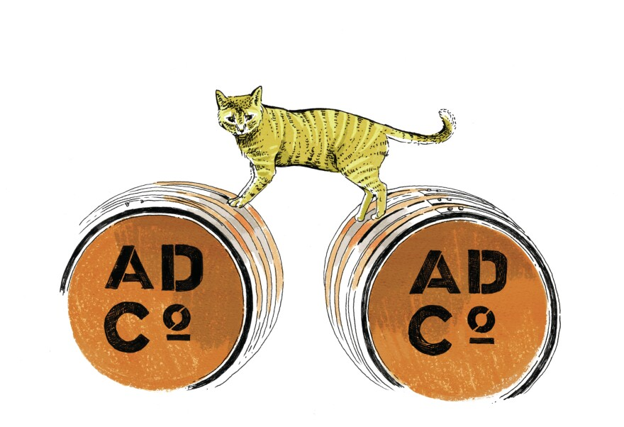 When Senate Minority Leader Chuck Schumer, D-N.Y., held a press conference at Albany Distilling Co., this ginger-colored distillery cat stole the show by hopping up on a barrel next to the podium for a photo op with the senator.