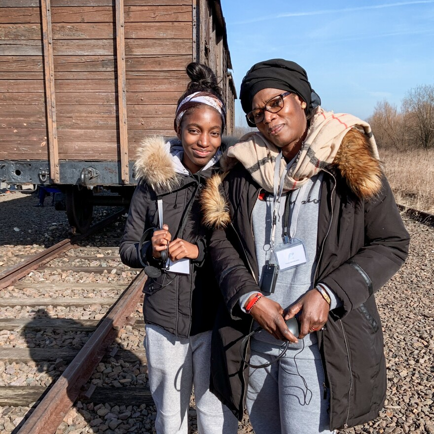Awa Mangara (right), who grew up in Mali, came to Auschwitz with her 18-year-old daughter Ina, who was born in France. Both were speechless after hearing stories from a Holocaust survivor there.