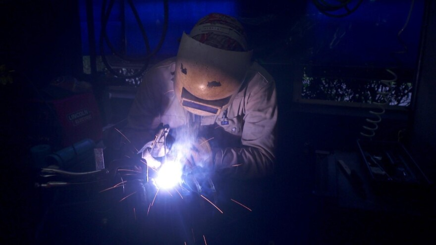 A person welding something