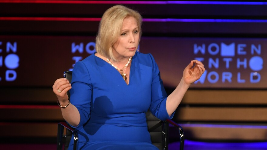 New York Democratic Sen. Kirsten Gillibrand, who has been mentioned as possible 2020 presidential candidate, speaks onstage at the Women of the World Summit in April in New York City.