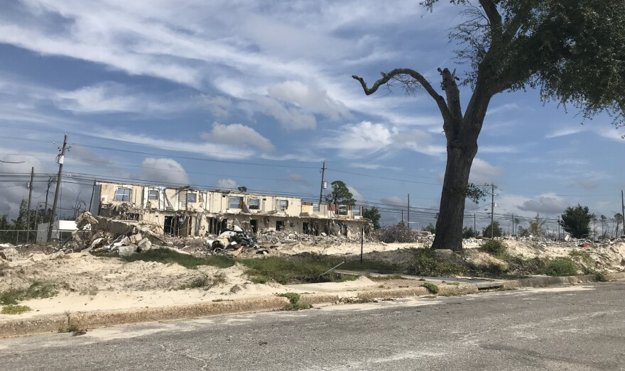 Demolition work on Massalina Memorial Homes continues on Oct. 9, 2020.