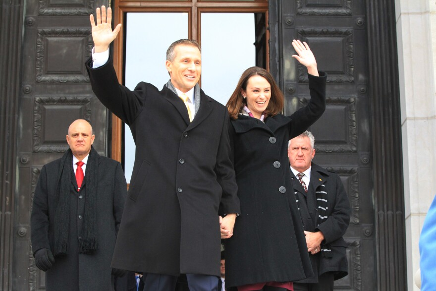 Eric and Sheena Greitens wave to the inaugural crowd shortly before he is sworn in as Missouri's governor. (Jan. 9, 2017)