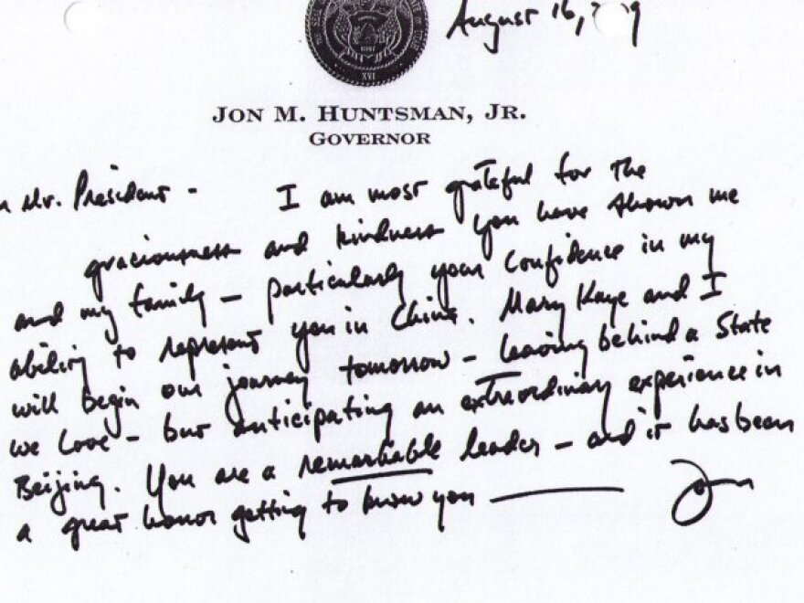 """Shortly after he was appointed U.S. ambassador to China, Jon Huntsman sent this letter to  President Obama, calling him """"a remarkable leader."""" With the Republican diplomat now considering a presidential run, a Democratic activist bought the website jonhuntsman.com and posted the letter there."""