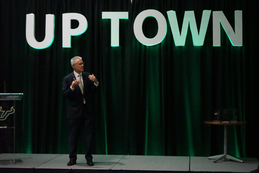 USF System President Steven Currall speaks at the Tampa Innovation Gathering on the Tampa campus Thursday night.