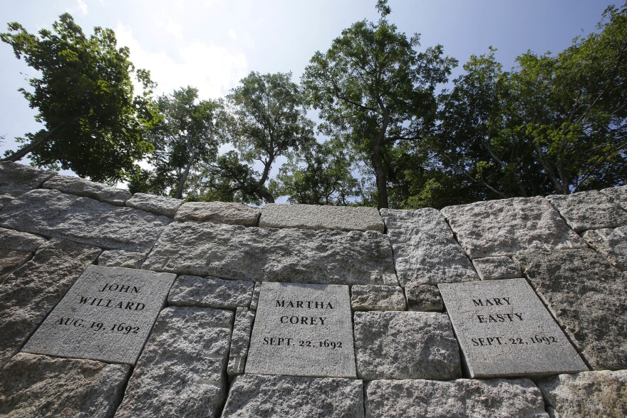 The 19 men and women who were hanged at Proctor's Ledge during the Salem witch trials 325 years ago have been memorialized at the site of their deaths in Salem, Mass.
