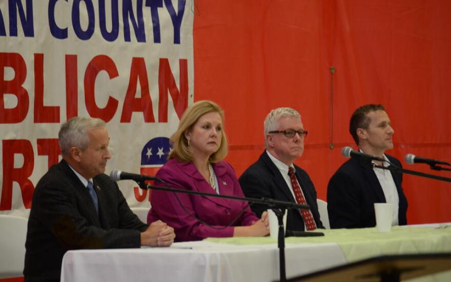 From left: GOP candidates John Brunner, Catherine Hanaway, Peter Kinder and Eric Greitens met in Ozark on Saturday, Jan. 23 for a forum on key issues for the state.