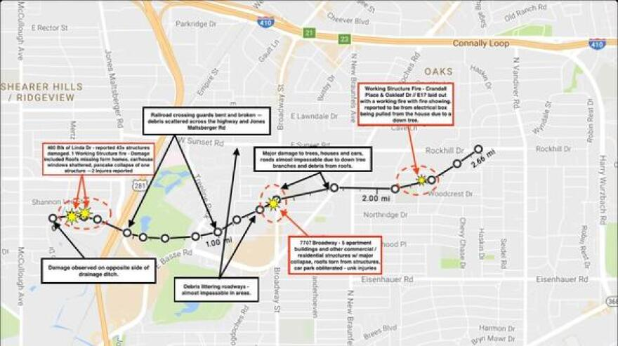 This graphic of a tornado's path in north central San Antonio was shared on Twitter by @saFireorg.