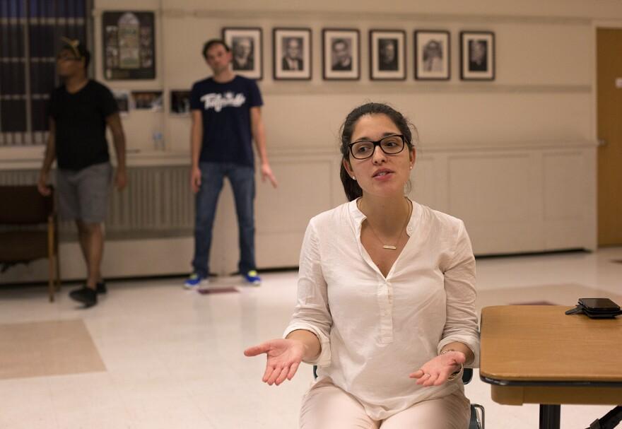 """Natasha Toro, as Naomi Rodriguez, rehearses """"21 Chump Street"""" at Bethel Fellowship Hall."""