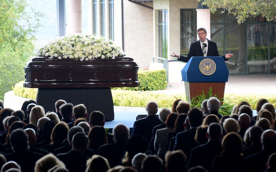 Ronald Prescott Reagan speaks during his mother's funeral service on Friday.