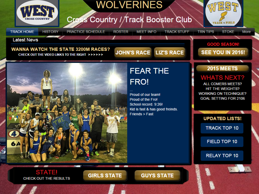 "The website of the West Forsyth High School track program with the words ""Fear the Fro!"" to show support for senior runner John Green, who was disqualified for wearing a headband during the state championship meet."
