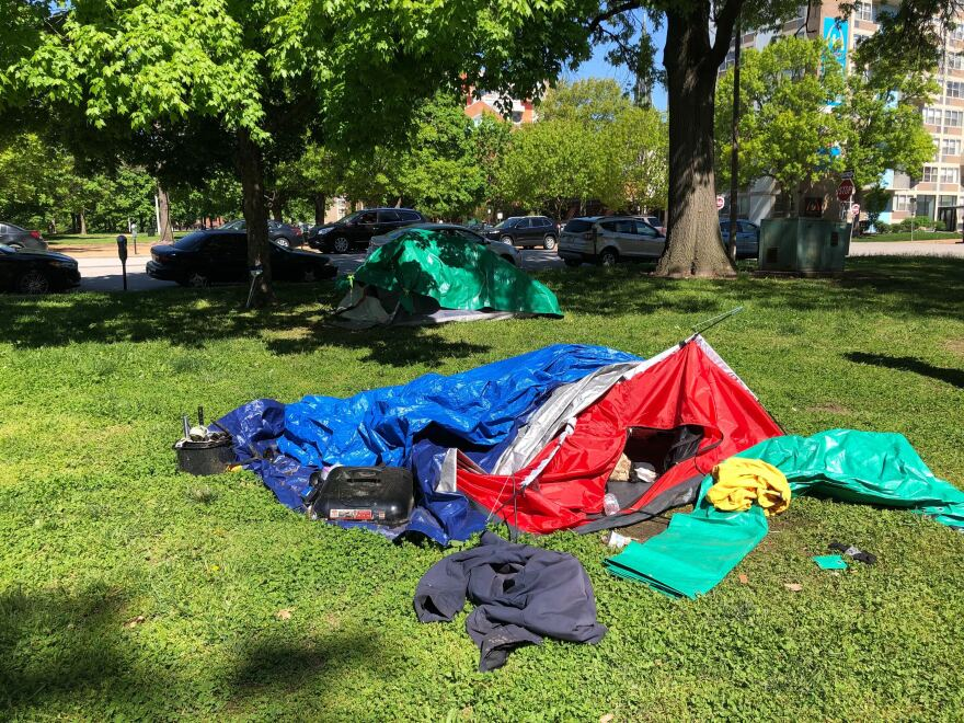 Tents at the encampment off Market Street, where about 50 unhoused individuals have lived for weeks. 5/1/20
