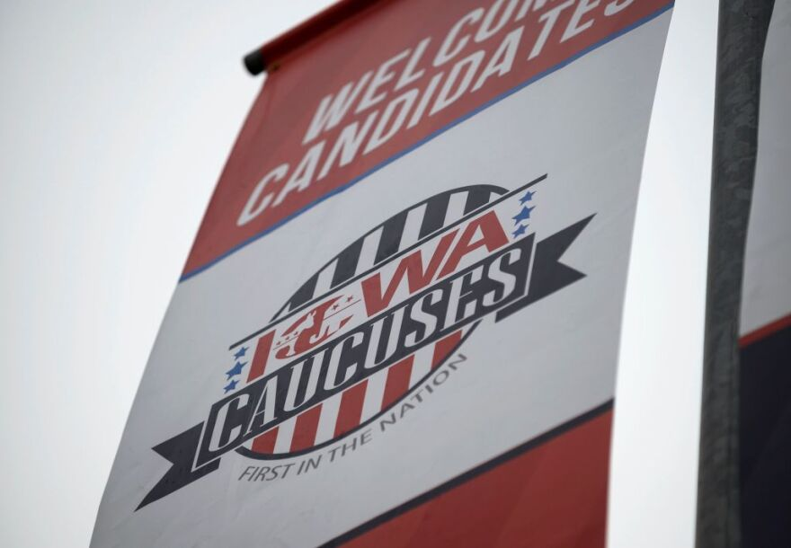 Signage for the Iowa caucuses hang in downtown Des Moines, Iowa, on January 25, 2020.  (Stephen Maturen/AFP/Getty Images)