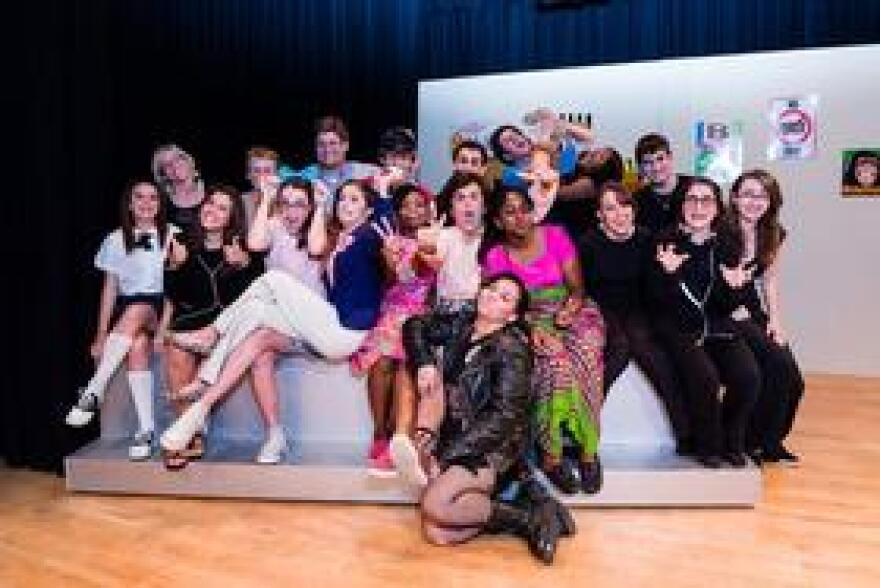 """Sam Caballero, center, was in a musical when she was in ninth grade at Miami Country Day School. Here, she's pictured on campus with the cast of """"The 25th Annual Putnam County Spelling Bee."""""""