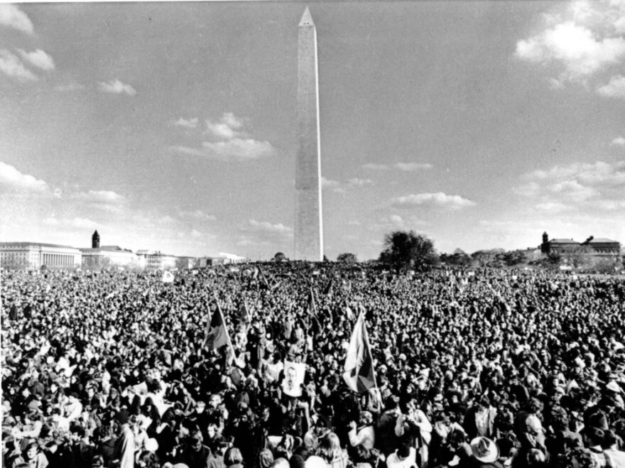 A crowd of demonstrators gather at the Washington Monument for a rally to protest the Vietnam War on Nov. 15, 1969.