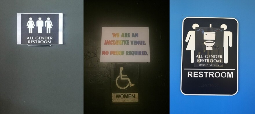 Anti-HB2 signs on bathrooms at North Carolina music venues: (from left) Haw River Ballroom in Saxapahaw, Cat's Cradle in Carrboro and Honeysuckle Tea House in Chapel Hill.