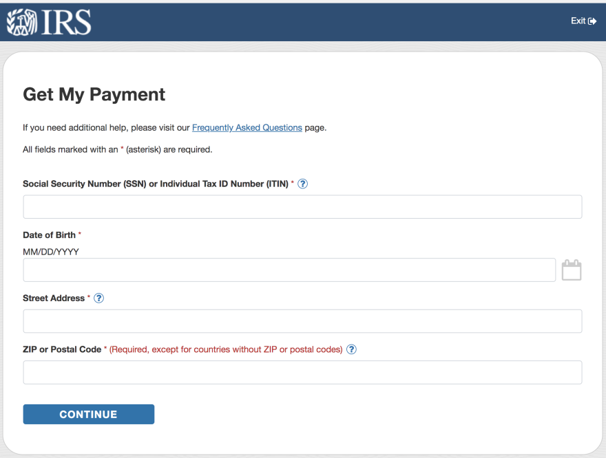 A screenshot of the IRS website to check on COVID-19 stimulus payments. The federal government has passed $2.2 trillion so far to help save the U.S. economy.