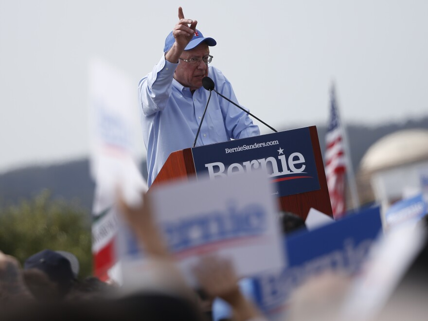 Vermont Sen. Bernie Sanders speaks during a campaign rally in San Francisco on March 24.