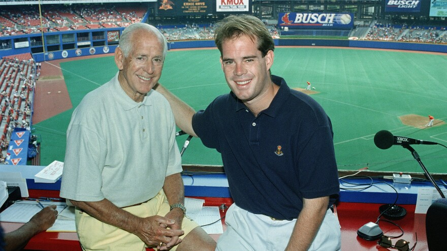Longtime St. Louis Cardinals sportscaster Jack Buck, left, celebrates Father's Day with his son Joe Buck in 1995.