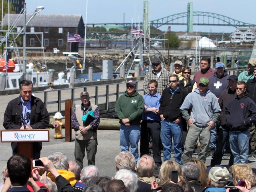 Mitt Romney fished for votes among fishermen in Portsmouth, NH, April 30, 2012.