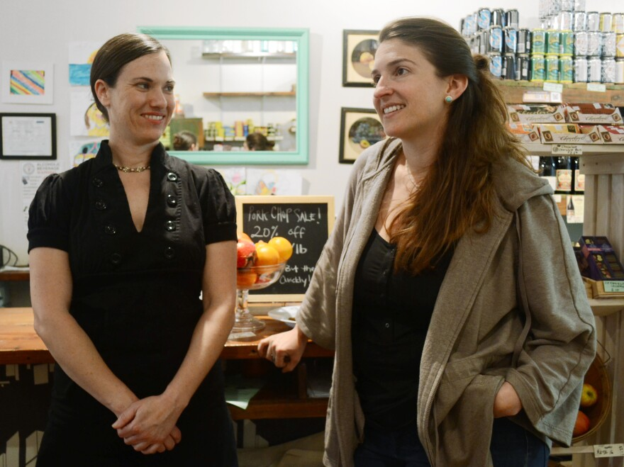 Jeanlouise Conaway (left) and Emily Friedberg say they like to get to know their regulars, most of whom live or work in the neighborhood.