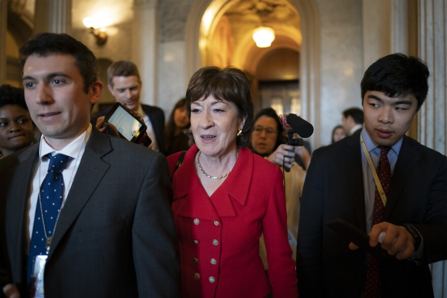 Sen. Susan Collins, R-Maine, departs as Republican senators leave a closed-door strategy session at the Capitol on Tuesday.