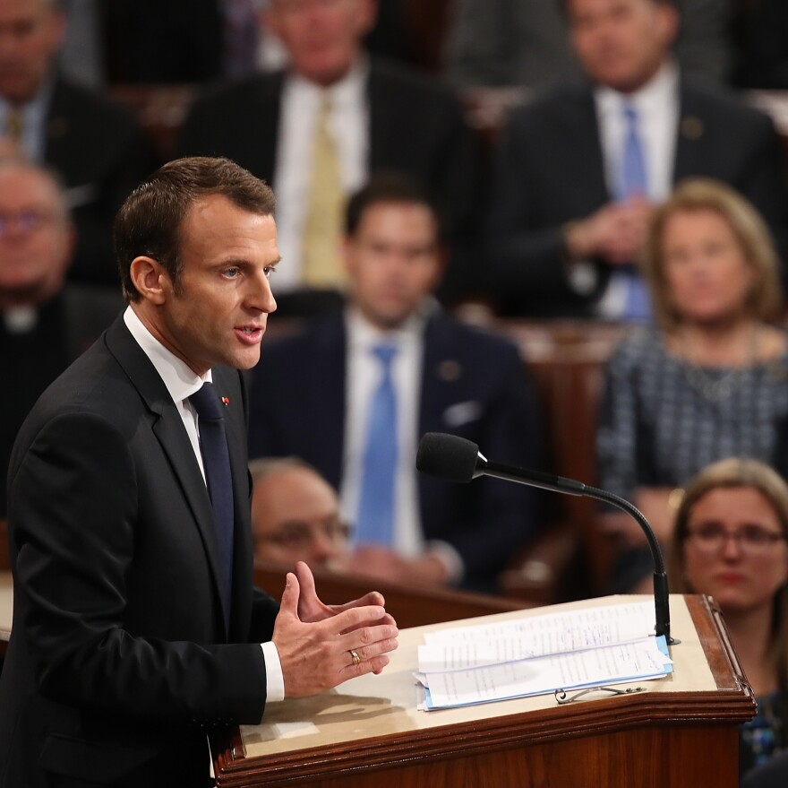 """French President Macron told members of Congress """"we are living in a time of fear"""" in the U.S. and Europe."""