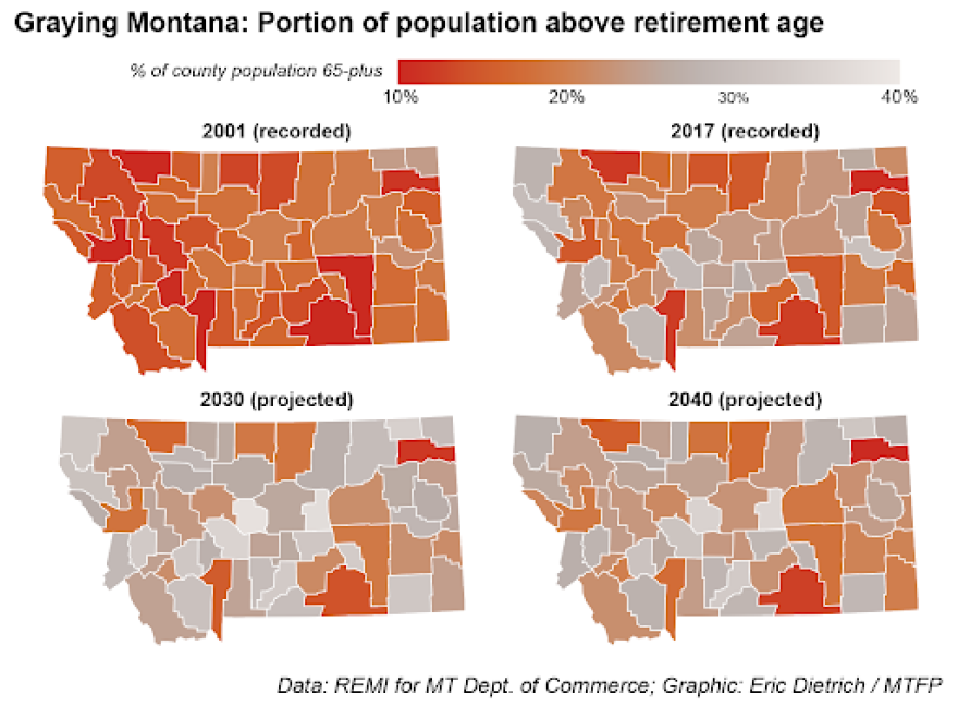 This graph shows the portion of Montanans above retirement age broken down by county.