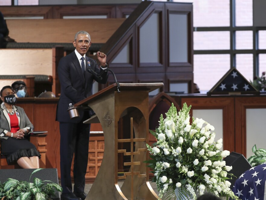 Obama delivers the eulogy during Lewis' funeral Thursday in Atlanta.