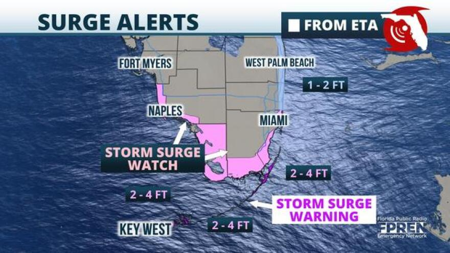 Storm Surge Watches and Warnings for parts of South Florida ahead of Eta