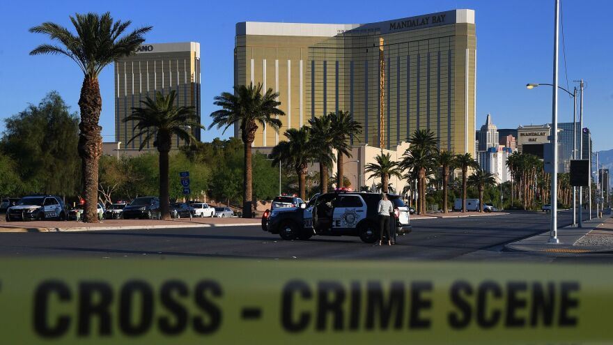 Crime scene tape surrounds the Mandalay Hotel after a gunman killed at 58 people and wounded more than 200 others when he opened fire on a country music concert in Las Vegas on Oct. 1, 2017.